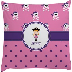 Pink Pirate Decorative Pillow Case (Personalized)