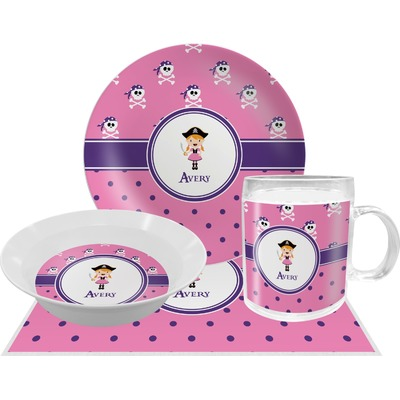 Pink Pirate Dinner Set - 4 Pc (Personalized)