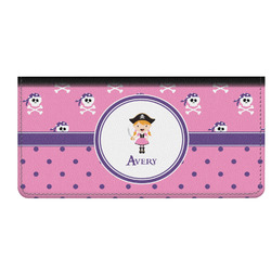 Pink Pirate Genuine Leather Checkbook Cover (Personalized)