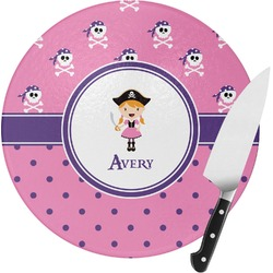 Pink Pirate Round Glass Cutting Board (Personalized)