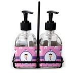 Pink Pirate Soap & Lotion Dispenser Set (Glass) (Personalized)