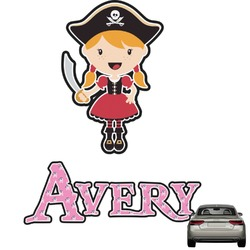 Pink Pirate Graphic Car Decal (Personalized)