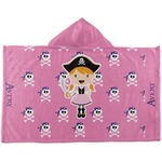 Pink Pirate Kids Hooded Towel (Personalized)
