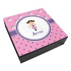 Pink Pirate Leatherette Keepsake Box - 8x8 (Personalized)