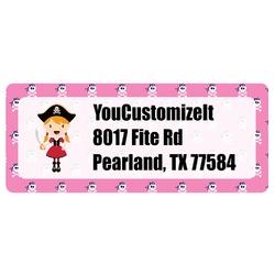 Pink Pirate Return Address Labels (Personalized)