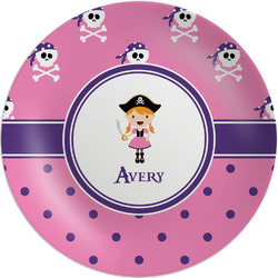 Pink Pirate Melamine Plate (Personalized)
