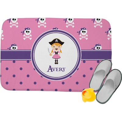 Pink Pirate Memory Foam Bath Mat (Personalized)