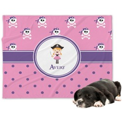 Pink Pirate Minky Dog Blanket - Large  (Personalized)
