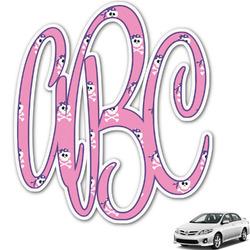 Pink Pirate Monogram Car Decal (Personalized)