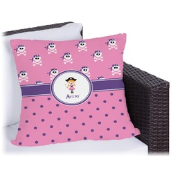 Pink Pirate Outdoor Pillow (Personalized)