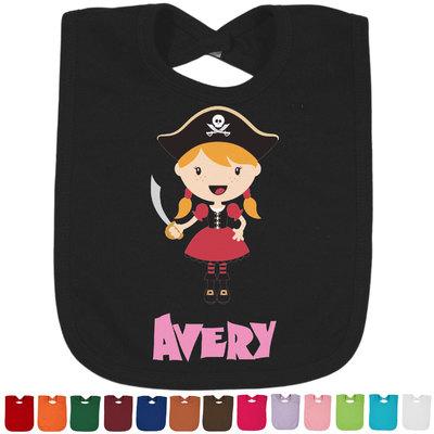 Pink Pirate Baby Bib - 14 Bib Colors (Personalized)