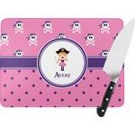 Pink Pirate Rectangular Glass Cutting Board (Personalized)