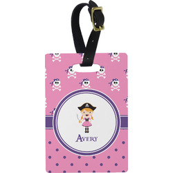 Pink Pirate Rectangular Luggage Tag (Personalized)