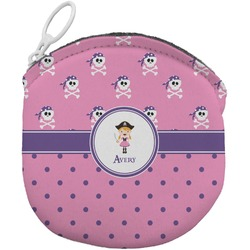 Pink Pirate Round Coin Purse (Personalized)
