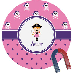 Pink Pirate Round Fridge Magnet (Personalized)