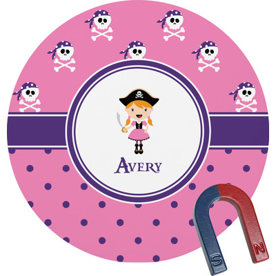 Pink Pirate Round Magnet (Personalized)