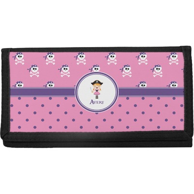 Pink Pirate Canvas Checkbook Cover (Personalized)