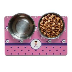 Pink Pirate Pet Bowl Mat (Personalized)