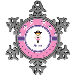 Pink Pirate Vintage Snowflake Ornament (Personalized)