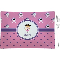 Pink Pirate Rectangular Glass Appetizer / Dessert Plate - Single or Set (Personalized)