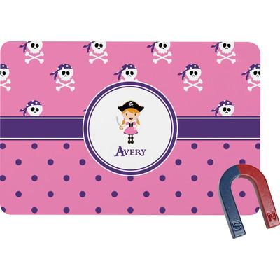 Pink Pirate Rectangular Fridge Magnet (Personalized)