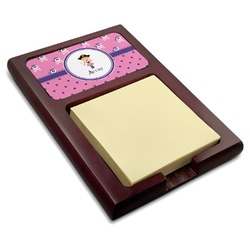 Pink Pirate Red Mahogany Sticky Note Holder (Personalized)