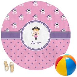 Pink Pirate Round Beach Towel (Personalized)