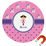 Pink Pirate Round Car Magnet (Personalized)