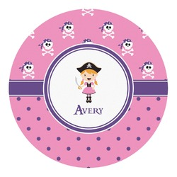 Pink Pirate Round Decal (Personalized)
