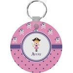 Pink Pirate Round Keychain (Personalized)