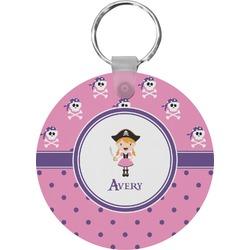 Pink Pirate Round Keychain (Personalized)