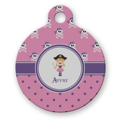 Pink Pirate Round Pet Tag (Personalized)