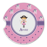 Pink Pirate Sandstone Car Coasters (Personalized)