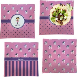 Pink Pirate Set of 4 - Square Dinner Plates (Personalized)