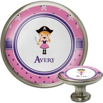 Pink Pirate Cabinet Knob (Silver) (Personalized)