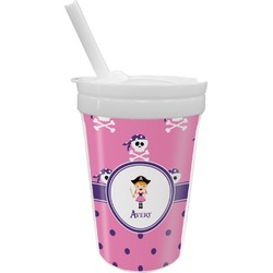 Pink Pirate Sippy Cup with Straw (Personalized)