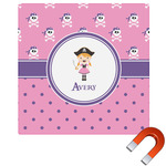 Pink Pirate Square Car Magnet (Personalized)
