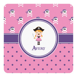 Pink Pirate Square Wall Decal (Personalized)