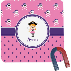Pink Pirate Square Fridge Magnet (Personalized)