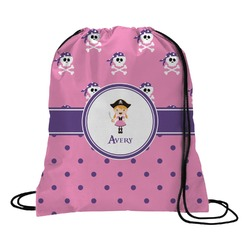 Pink Pirate Drawstring Backpack (Personalized)