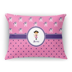 Pink Pirate Rectangular Throw Pillow Case (Personalized)