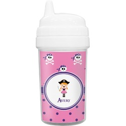 Pink Pirate Toddler Sippy Cup (Personalized)