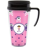Pink Pirate Travel Mug with Handle (Personalized)