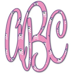Pink Pirate Monogram Decal - Custom Sized (Personalized)
