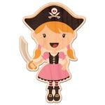 Pink Pirate Genuine Wood Sticker (Personalized)