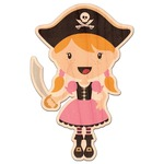 Pink Pirate Genuine Wood Sticker (Personalized)