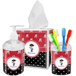 Pirate & Dots Acrylic Bathroom Accessories Set w/ Name or Text