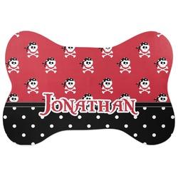 Pirate & Dots Bone Shaped Dog Food Mat (Personalized)