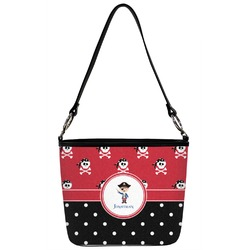 Pirate & Dots Bucket Bag w/ Genuine Leather Trim (Personalized)