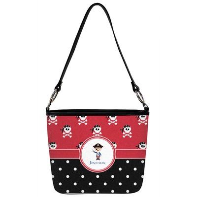 Pirate & Dots Bucket Bag w/ Genuine Leather Trim (Personalized)